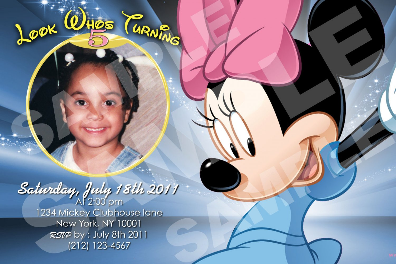 Minnie Mouse Birthday invitaions. 4 x 6 you print High Res digital file