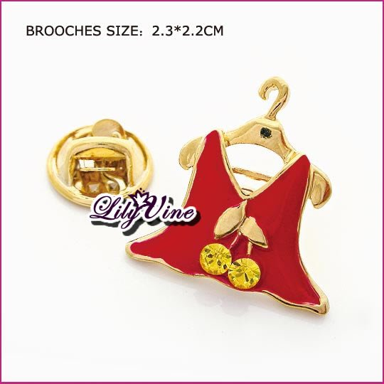 Lady Skirt Crystal Brooch, Brooches