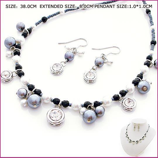 Black Pearl & Zircon Jewelry Set