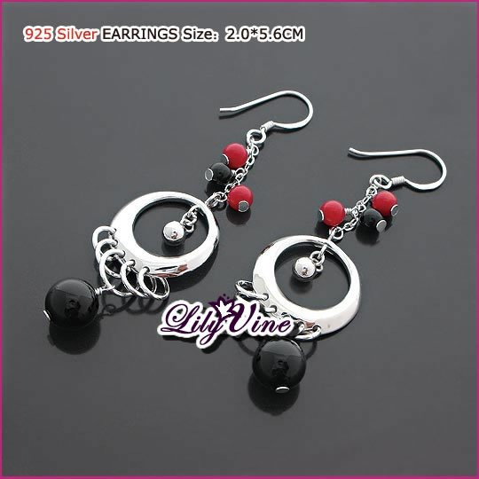 Oriental Silver (925 Sterling) Agate Earrings