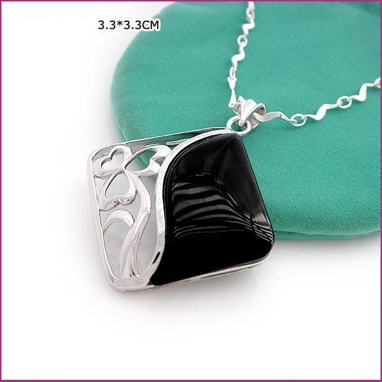 Square Silver (925 Sterling) Black Zircon Pendants