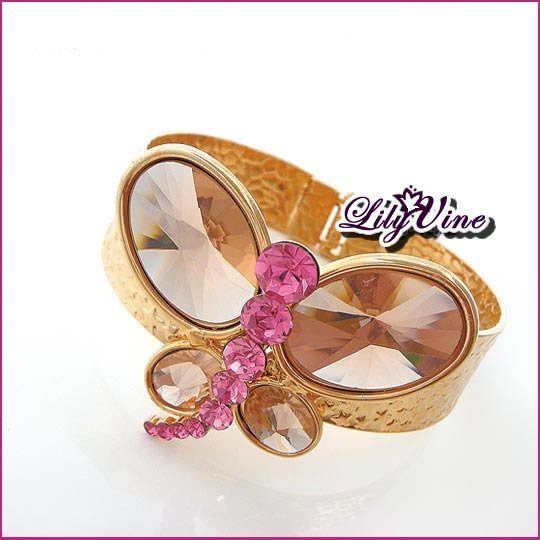 Luxury Crystal Butterfly Golden Bangle, Bangles