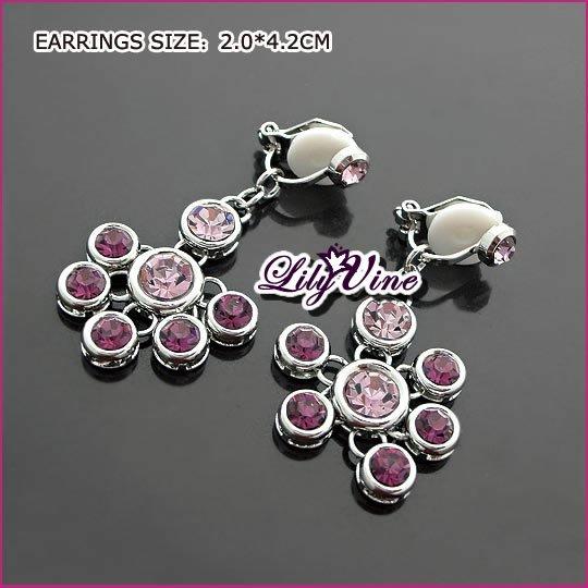 Amethyst Silver Clip Earrings, Clip earrings, Earrings