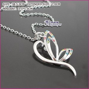 Colorful Butterfly Crystal Necklace, Necklaces