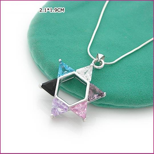 Colorful Star Silver (925 Sterling) Zircon Pendants, Pendants, Sterling Silver