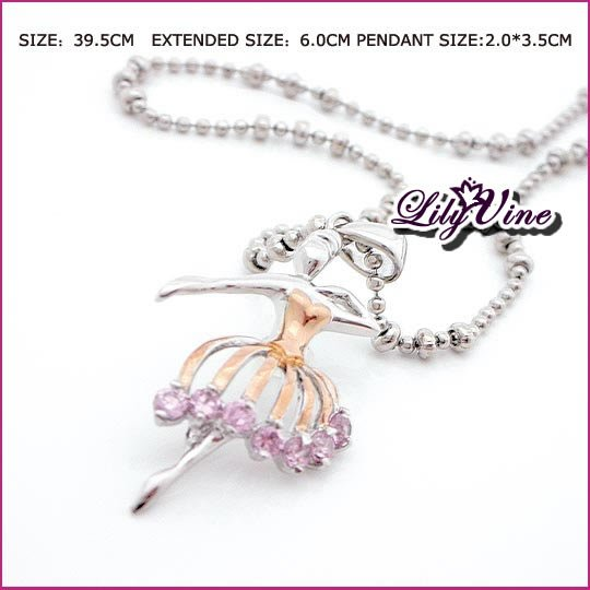 Pink Ballet Zircon Necklace, Necklaces