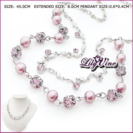 Pink Pearls & Crystal Necklace, Necklaces