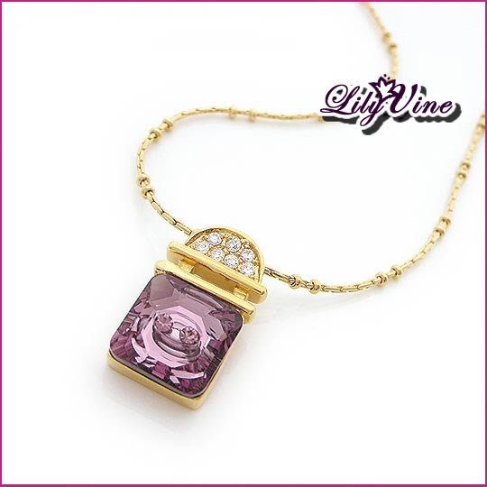 Amethyst Lock Golden Necklace, Necklaces