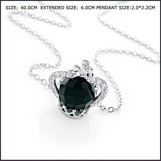 Black Crystal Crown Necklace, Necklaces