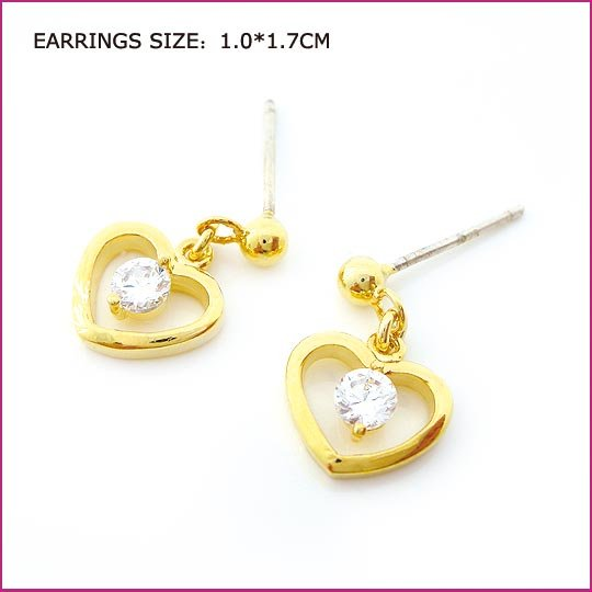 Golden Heart Zircon Pierced Earrings, Pierced earrings, Earrings