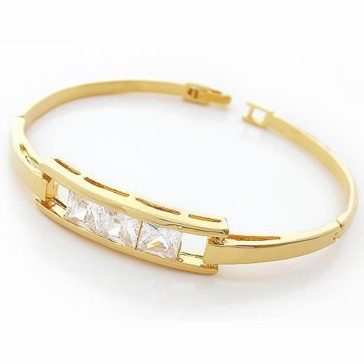 Shining Zircon Golden Bangle, Bangles