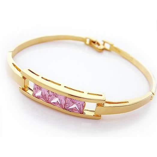 Pink Zircon Golden Bangle, Bangles