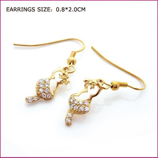 Zircon Golden Pierced Earrings, Pierced earrings, Earrings