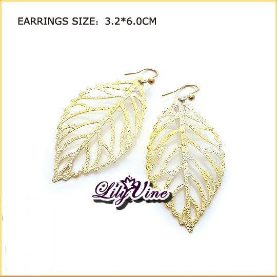 Golden Leaf Pierced Earrings, Pierced earrings, Earrings