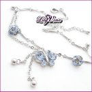 Blue Crystal Butterfly Anklet, Anklets