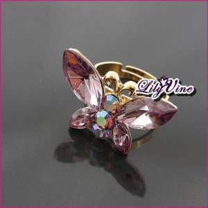 Golden Plated Butterfly Amethyst Ring, Rings