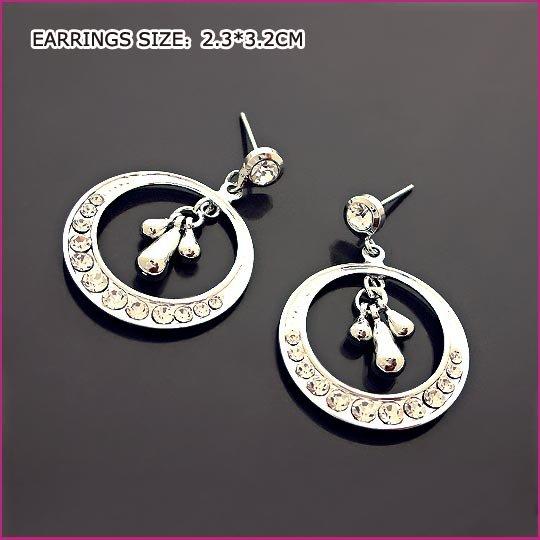 Pt Plated Crystal Pierced Earrings, Pierced earrings, Earrings