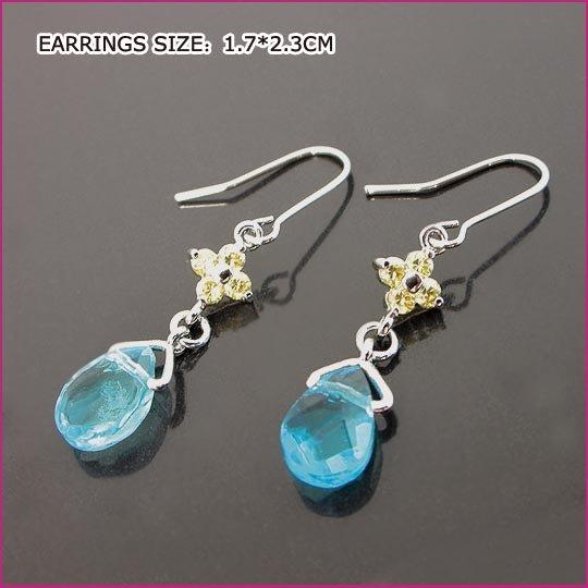 Tear Drop Crystal Pierced Earrings, Pierced earrings, Earrings