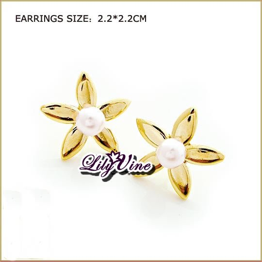 Lily Flower Pearl Pierced Earrings, Pierced earrings, Earrings