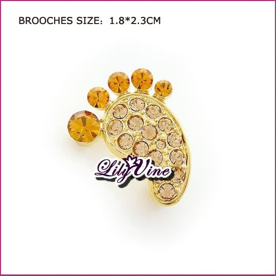 Crystal Footprint Brooch, Brooches