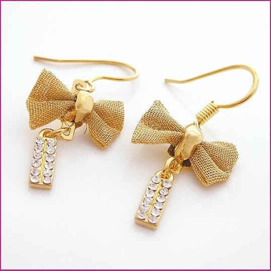 Golden Cravat Pierced Earrings, Pierced earrings, Earrings