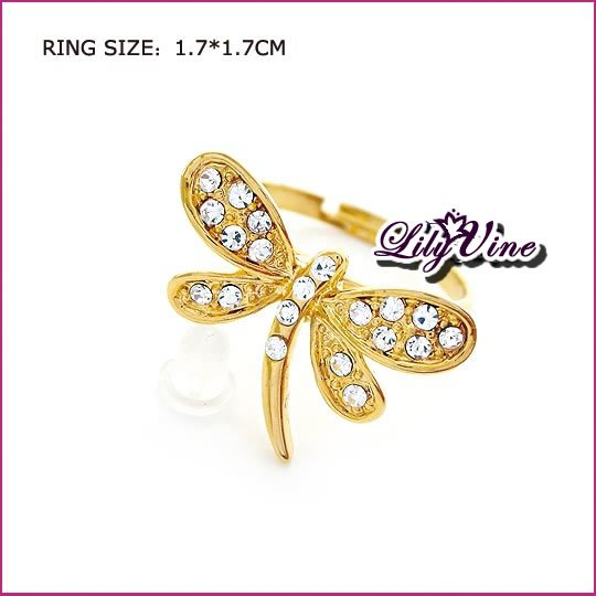 Gold Plated Dragonfly Crystal Ring, Rings