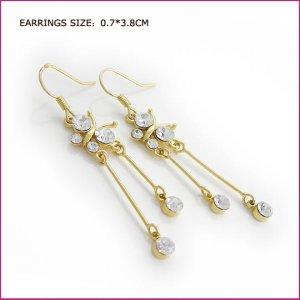 Crystal Gold Pierced Earrings, Pierced earrings, Earrings