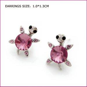 Purple Tortoise Pierced Earrings, Pierced earrings, Earrings