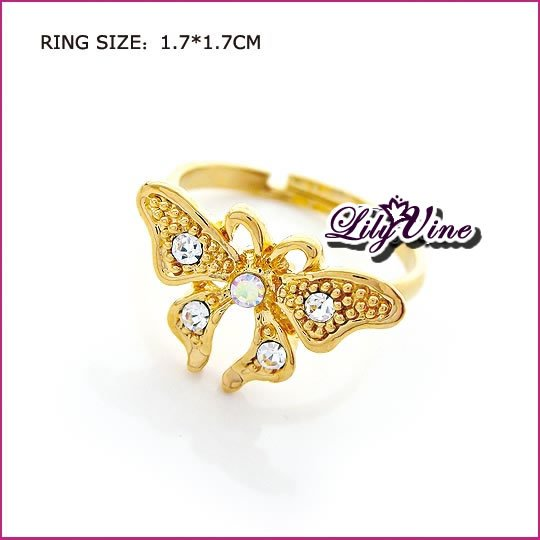 Golden Plated Butterfly Crystal Ring, Rings