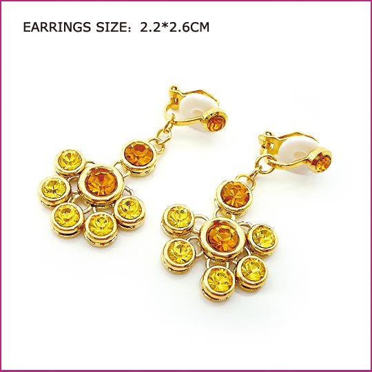 Citrine Golden Clip Earrings, Clip earrings, Earrings