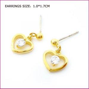 Golden Heart Zircon Pierced Earrings, Pierced earrings, Earrings