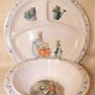 Eden, Peter Rabbit & Friends, child's divided plate & cereal bowl