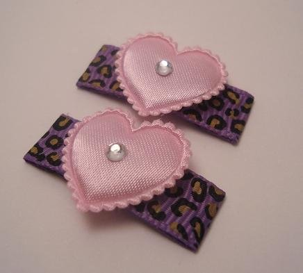 Grape Leopard Heart Clips