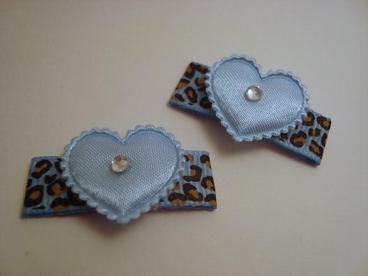 Blue Leopard Heart Clips