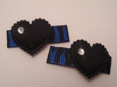 Blue Zebra Heart Clips