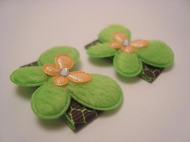 Lemon Lime Butterfly Clips
