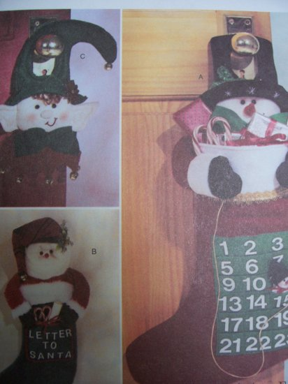 McCall's Crafts 4192 Craft Pattern Advent Calendar, Stocking and Door Hanging