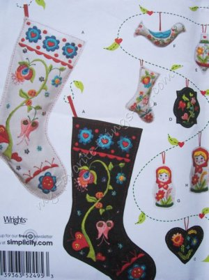 Simplicity Pattern 2495 Felt Christmas Decorations - Stocking, Ornaments