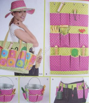 Simplicity Pattern 2632 Garden Accessories & Hat, Bucket Caddy, Tool Belt, Wall Caddy