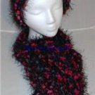 Handmade Knitted Thick Soft Hat & Scarf Set Black Multi
