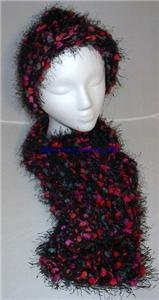 Handmade Knitted Thick Soft Hat &amp; Scarf Set Black Multi