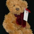 "Russ Plush 9"" Teddy Bear ""Timber"" with Burgundy Scarf"