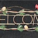 Decorative Unique Metal Welcome Plaque with Red Cardinals