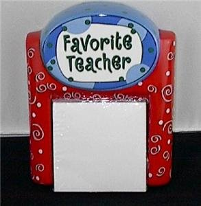 Gift for Teacher Ceramic Note Holder Desk Organizer