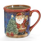 Christmas Hand-painted Porcelain Santa Mugs Set of 2