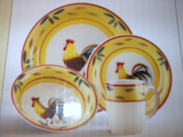 16 Piece Country View Stoneware Set features Roosters MSRP $79.99