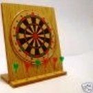 "7"" x 8"" Desktop Dartboard with 5 Mini Brass Darts and Stand"