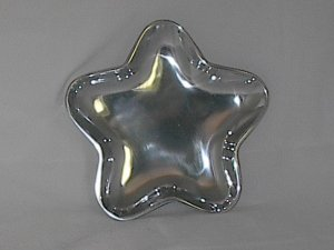 "Star Aluminum Pewter Candy Peanuts Serving Tray Dish 8""x8"""
