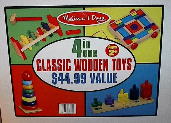 Classic Wooden Early Learning Toys 4 in 1 Combo Set Melissa and Doug