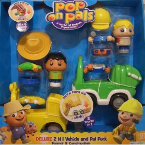 Pop on Pals Deluxe 2-in-1 Vehicle Set Farmer and Construction